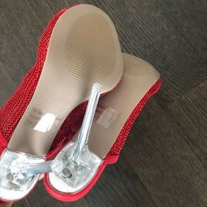 Wild Diva Shoes - Red mesh clear acrylic heel sandals Sz 9 new